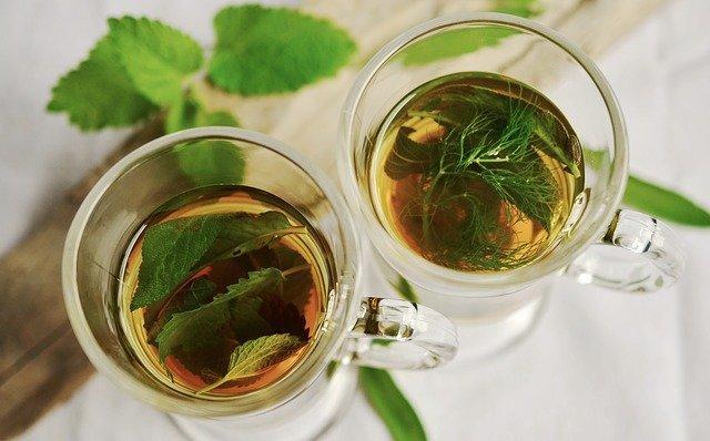 Dwie szklanki herbaty w jednej jest pokrzywa na obniżenie cholesterolu a w drugiej liście pokrzywy i kopru
