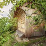 Domek do uloterapii wykonany jest z drewna a pszczoły w nim znajdujące się są odgrodzone siatką